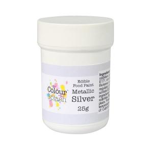 Colour Splash Edible Food Paint - Metallic silver (25g)