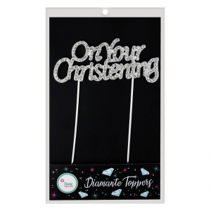 Doric Diamante Topper - On Your Christening - Silver