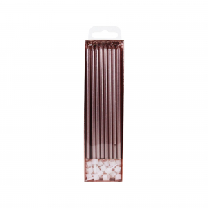 PME Extra Tall Candles & Holders - Rose Gold (Pack of 16)