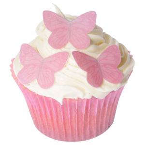 CDA Edible Wafer - Butterflies - Small Pink (Pack of 42)