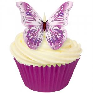 CDA Edible Wafer - Butterflies - Pink & Purple (Pack of 12)
