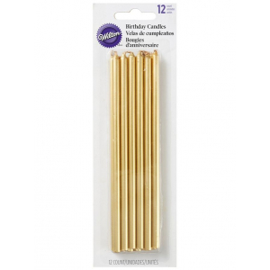 Wilton Long Birthday Candles - Gold (Pack of 12)