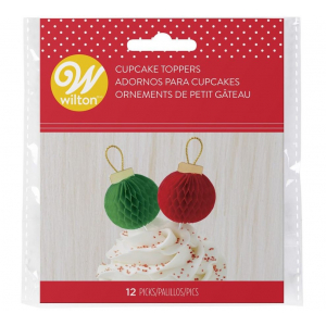 Wilton Cupcake Toppers - Christmas Ornament (Pack of 12)