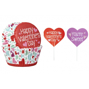 Wilton Cupcake Case And Pick Set - Valentine's Day (Pack of 24)