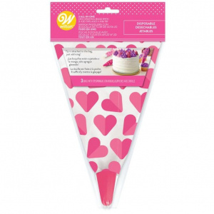 Wilton All-In-One Disposable Decorating Bag With Tip - Hearts (Pack of 3)