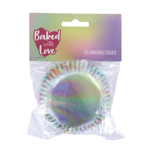Baked With Love Foil Lined Baking Cases - Iridescent (Pack of 25)