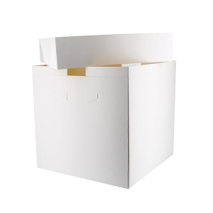 "Tall Cake Box Base & Lid - White - 12"" - Bulk Pack (25)"