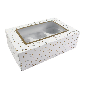 Dual Insert Cupcake Box - Metallic Spot