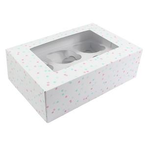 Dual Insert Cupcake Box - Multi Pastel Spot (Pack of 20)