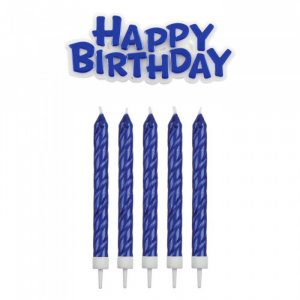 PME Candles - Happy Birthday Candle & Motto Set: Blue