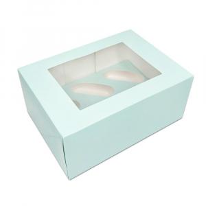 Luxury Cupcake Box - 6 Cavity - Duck Egg Blue