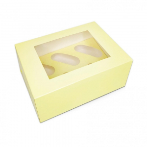 Luxury Cupcake Box - 6 Cavity - Pastel Yellow