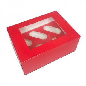 Luxury Cupcake Box - 6 Cavity - Red