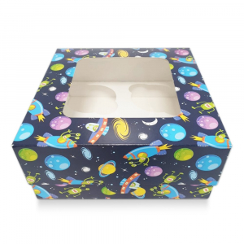 Cupcake Box / 4 Cavity - Alien Spaceships - Blue