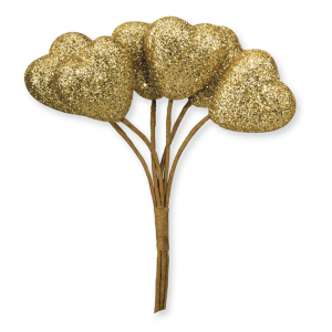Club Green Glitter Hearts on Stem - Gold - Small (Pack of 12)