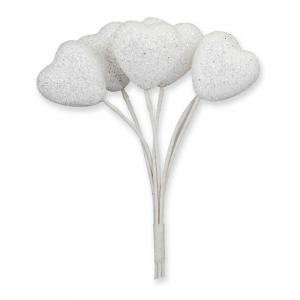 Club Green Glitter Hearts on Stem - White - Small (Pack of 12)