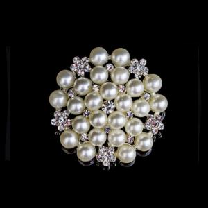 Diamante Designs Brooch - Pearl/Diamante - Silver