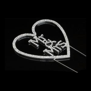 Diamante Designs Pick - Mr & Mrs Heart - Silver