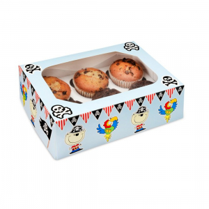Club Green Cupcake Box - 6 Cavity - Pirate (Pack of 2)