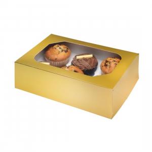 Club Green Cupcake Box - 6 Cavity - Metallic Gold