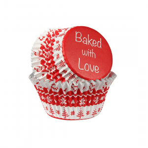 Baked with Love Foil Lined Baking Cases - Nordic Red (Pack of 25)
