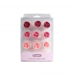 Culpitt Sugar Flowers - Pink Ombre Roses (Pack of 12)