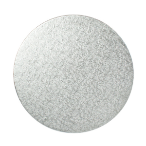"""Single Thick Turned Edge Cake Card - Round - Silver - 06"""""""