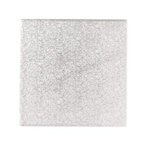 "Single Thick Cut Edge Cake Card : 1.1mm - Square - Silver - 10"""