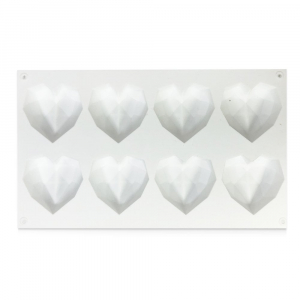 Choctastique Chocolate Mould - Geo Heart - 8 Cavity