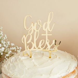 Club Green Acrylic Cake Topper - God Bless - Gold Mirrored