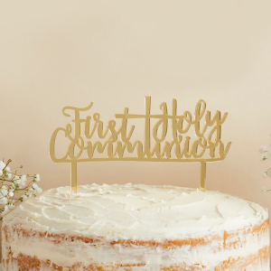 Club Green Acrylic Cake Topper - First Holy Communion - Gold Mirrored