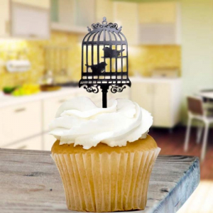 Acrylic Cupcake Topper Decorations - Birdcage - Black (Pack of 8)