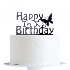 Acrylic Cake Topper Decoration - Happy Birthday with Butterfly - Black