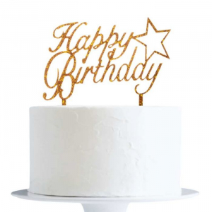 Acrylic Cake Topper Decoration - Happy Birthday with Star - Glitter Gold