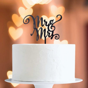 Acrylic Cake Topper Decoration - Mr & Mrs - Black