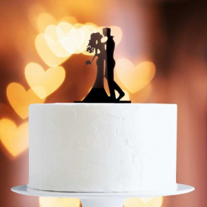 Acrylic Cake Topper Decoration - Bride & Groom Kissing Couple - Black