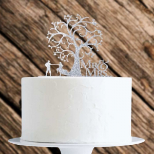 Acrylic Cake Topper Decoration - Mr & Mrs Tree Of Life - Silver Glitter