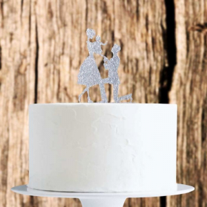 Acrylic Cake Topper Decoration - Family Proposal - Silver Glitter