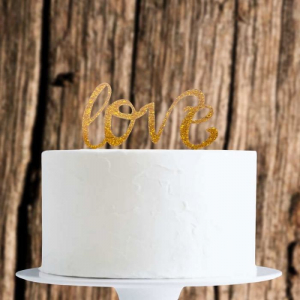 Acrylic Cake Topper Decoration - Love - Gold Glitter