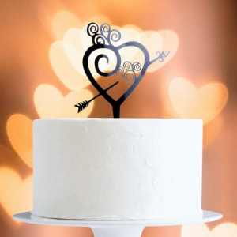Acrylic Cake Topper Decoration - Heart & Arrow - Black