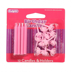 Culpitt Candles and Holders - Pink (Pack of 12)