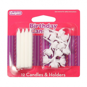 Culpitt Candles and Holders - White (Pack of 12)