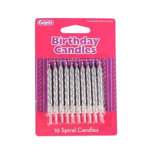 Culpitt Spiral Candles - Silver (Pack of 10)