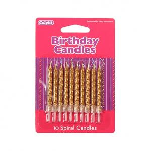 Culpitt Spiral Candles - Gold (Pack of 10)