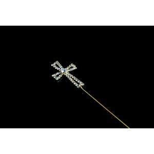 Diamante Designs Pick - Cross - Open - Gold