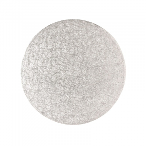 """Double Thick Turned Edge Cake Card - Round - Silver - 6"""""""