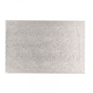 """Double Thick Turned Edge Cake Card - Oblong - Silver - 12"""" x 10"""""""