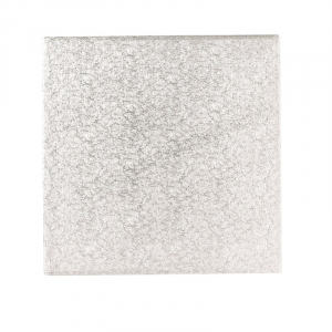 """Double Thick Turned Edge Cake Card - Square - Silver - 14"""""""
