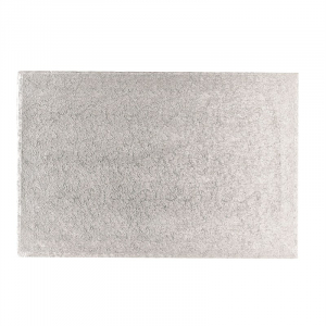 """Double Thick Turned Edge Cake Card - Oblong - Silver - 14"""" x 10"""""""