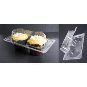 Plastic Hinged Cupcake Box - 2 Cavity